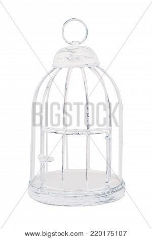 vintage metallic bird cage isolated on white background