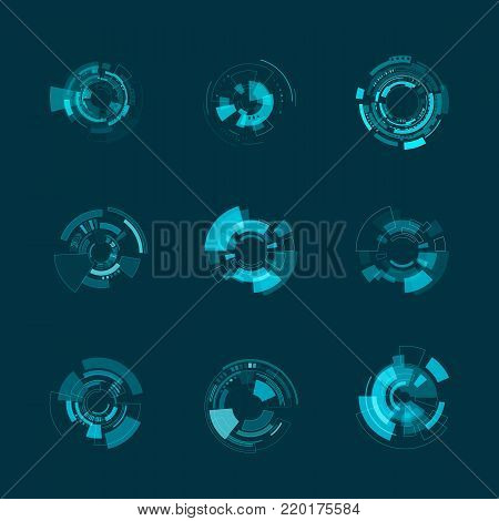 HUD futuristic interface template. HUD panels and hologram shapes. Vector illustration