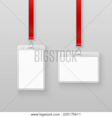 Identification white empty blank plastic id cards set. Authorization system in events or in office. Vector illustration isolated on gray background