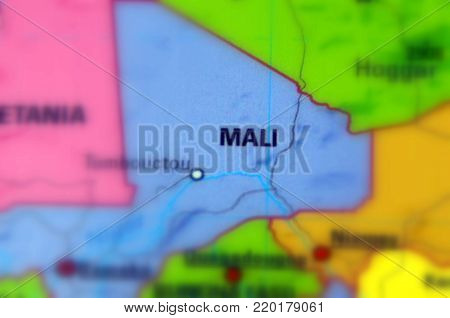 Mali, officially the Republic of Mali (selective focus).