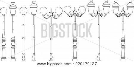 Street lights vector set  design illustration art