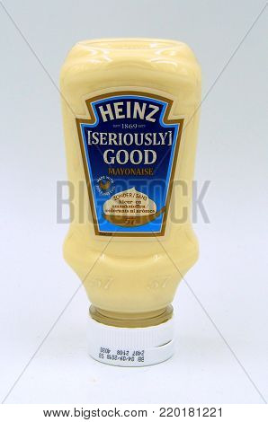 Amsterdam, The Netherlands - December 31, 2017: Bottle of Heinz Seriously Good Mayonaise against a white background.