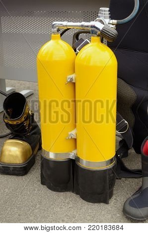 Equipment for scuba diving.Cylinders with oxygen for diving.