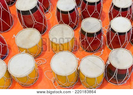 Tablas , membranophones , pair of small drums. Handicrafts on display during the Handicraft Fair in Kolkata , earlier Calcutta, West Bengal, India. It is the biggest handicrafts fair in Asia.
