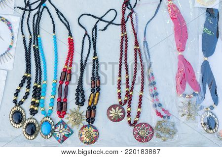 Necklaces, handicrafts on display during the Handicraft Fair in Kolkata , earlier Calcutta, West Bengal, India. It is the biggest handicrafts fair in Asia.
