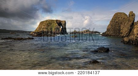 Elelphant Rock - A rock formation in the shape of a rock found in Northern Ireland near Ballintoy Harbour.