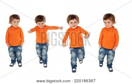 Sequence of four active children isolated on a white backgroud