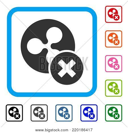 Cancel Ripple icon. Flat gray iconic symbol in a blue rounded square. Black, gray, green, blue, red, orange color variants of Cancel Ripple vector. Designed for web and app interfaces.