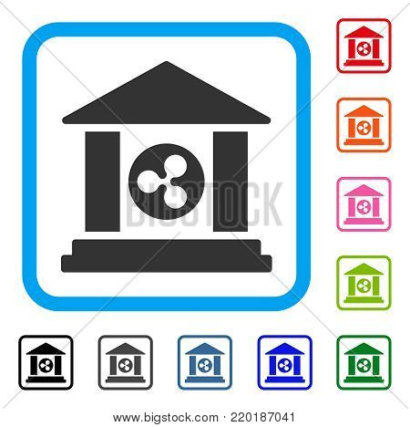 Ripple Bank Building icon. Flat grey pictogram symbol inside a blue rounded square. Black, gray, green, blue, red, orange color versions of Ripple Bank Building vector.