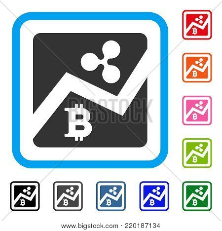 Ripple Bitcoin Exchange Market icon. Flat grey pictogram symbol inside a blue rounded rectangle. Black, gray, green, blue, red, orange color variants of Ripple Bitcoin Exchange Market vector.
