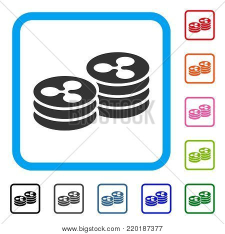 Ripple Coin Columns icon. Flat gray iconic symbol in a blue rounded rectangle. Black, gray, green, blue, red, orange color additional versions of Ripple Coin Columns vector.