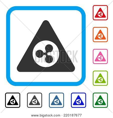 Ripple Danger icon. Flat grey iconic symbol in a blue rounded square. Black, gray, green, blue, red, orange color variants of Ripple Danger vector. Designed for web and app user interface.
