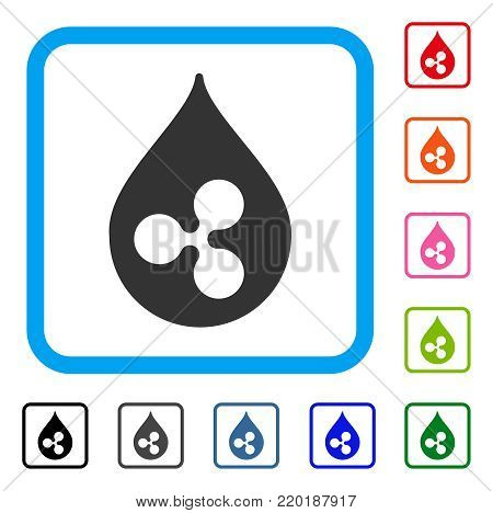 Ripple Drop icon. Flat grey pictogram symbol in a blue rounded square. Black, gray, green, blue, red, orange color variants of Ripple Drop vector. Designed for web and application interfaces.