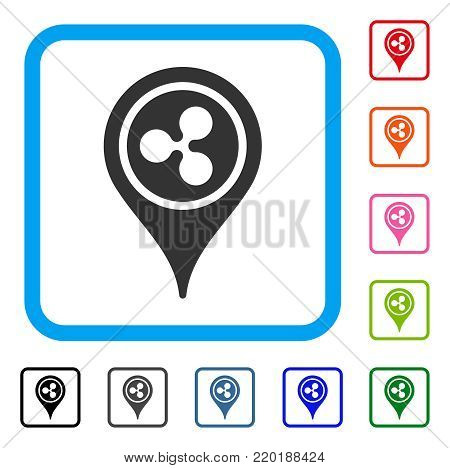 Ripple Map Pointer icon. Flat grey iconic symbol inside a blue rounded rectangle. Black, gray, green, blue, red, orange color variants of Ripple Map Pointer vector.