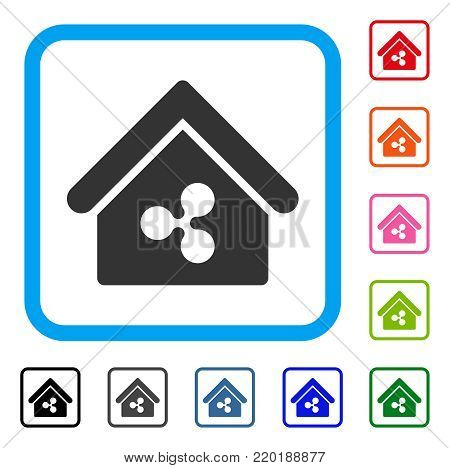 Ripple Realty icon. Flat grey iconic symbol inside a blue rounded rectangular frame. Black, gray, green, blue, red, orange color versions of Ripple Realty vector. Designed for web and app UI.