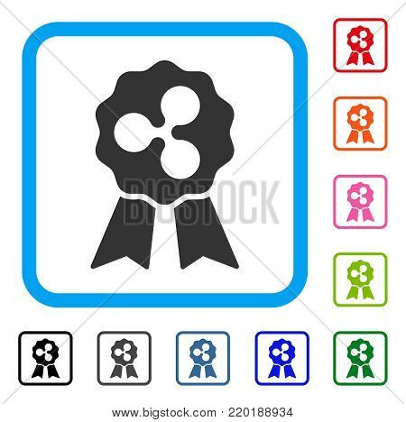 Ripple Reward Ribbons icon. Flat grey pictogram symbol inside a blue rounded rectangular frame. Black, gray, green, blue, red, orange color variants of Ripple Reward Ribbons vector.
