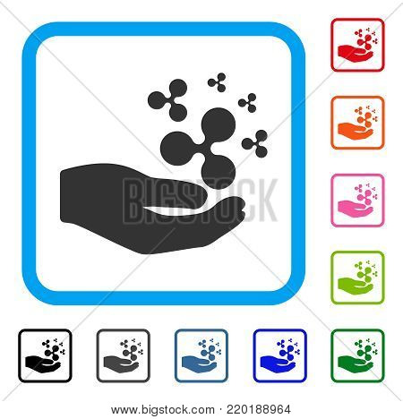 Ripple Salary Hand icon. Flat gray pictogram symbol in a blue rounded rectangle. Black, gray, green, blue, red, orange color additional versions of Ripple Salary Hand vector.