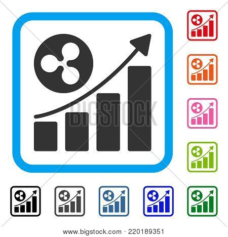Ripple Up Trend icon. Flat gray iconic symbol in a blue rounded squared frame. Black, gray, green, blue, red, orange color versions of Ripple Up Trend vector.