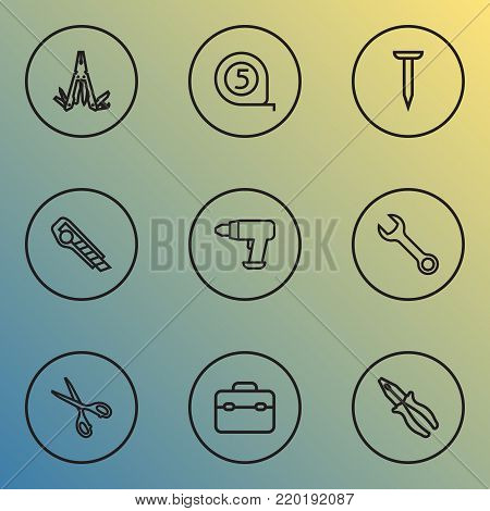 Repair icons line style set with cutter, bolt, multifunctional pocket and other bolt elements. Isolated vector illustration repair icons.
