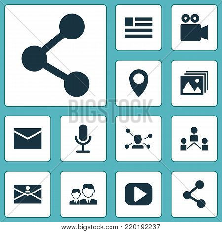 Internet icons set with form, camcorder, relation and other relation elements. Isolated vector illustration internet icons.