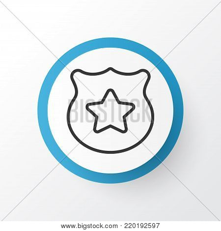 Police badge icon symbol. Premium quality isolated cop symbol element in trendy style.