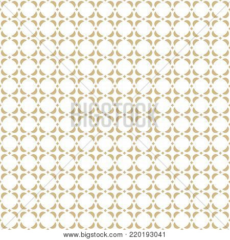 Abstract geometric seamless pattern. Golden ornamental texture, asian motif. Rounded shapes, circles, squares, repeat tiles. Elegant luxury background. Subtle gold and white ornament. - Stock vector