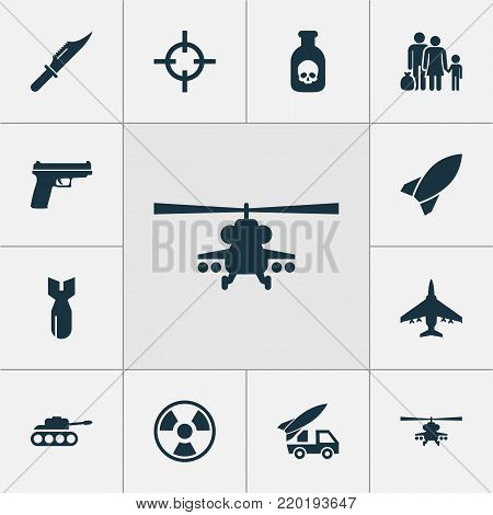 Army icons set with chopper, cutter, ordnance and other panzer elements. Isolated  illustration army icons. poster