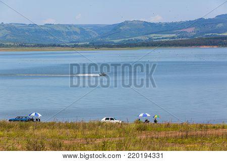 Dam Fishing Boats Holiday Landscape