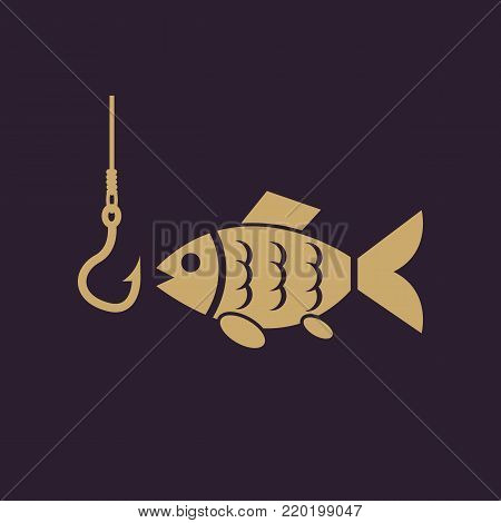 Fish icon. Fishing and angling, Hook symbol. Flat design. Stock - Vector illustration