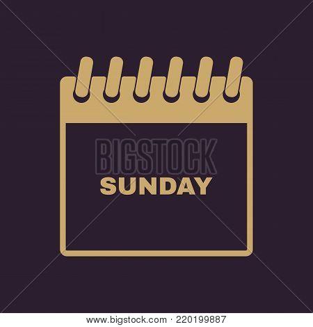Sunday icon. Sun and calendar, data symbol. Flat design. Stock - Vector illustration