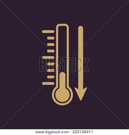 Temperature decrease icon. Thermometer and meteorology, freeze symbol. Flat design. Stock - Vector illustration