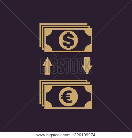 Currency exchange dollar and euro icon. Bank and finance, pay symbol. Flat design. Stock - Vector illustration