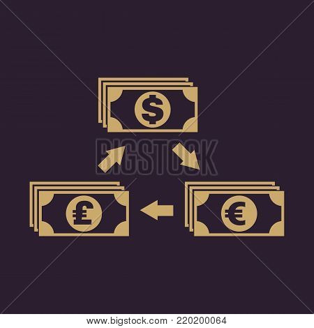 Currency exchange dollar and pound sterling, euro icon. Bank and finance, pay symbol. Flat design. Stock - Vector illustration
