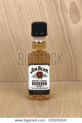 Spencer, Wisconsin,December, 31, 2017    Mini bottle of Jim Beam Bourbon Whiskey Jim Beam was first introduced in the U.S.A. in 1795