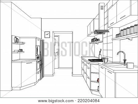 3D vector sketch. Modern kitchen design in apartment interior. Kitchen sketch with decorations and appliances. Kitchen furniture on two walls.