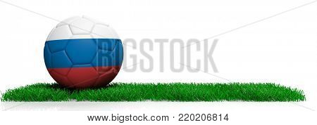 Russia soccer football ball on grass isolated on white background, copy space. 3d illustration