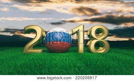 New year 2018 with Russia flag soccer football ball on green grass, blue sky background. 3d illustration