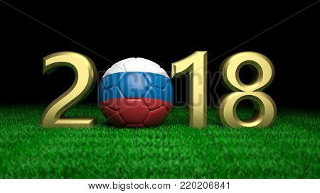 New year 2018 with Russia flag soccer football ball on green grass, black background. 3d illustration