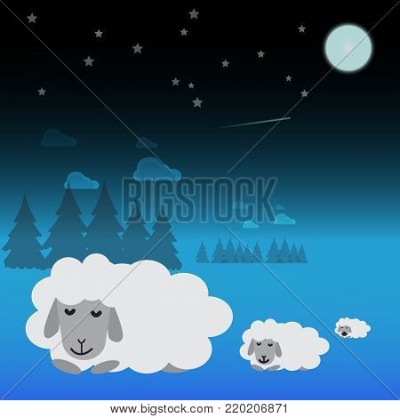 Three white sheep are sleeping in the meadow at night.