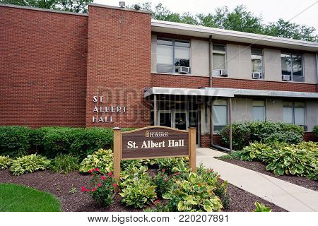JOLIET, ILLINOIS / UNITED STATES - JULY 26, 2017: Saint Albert Hall houses classrooms at the University of Saint Francis.