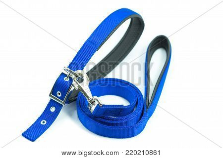 Pet supplies about collars with leash for dog or cat isolated on white background.