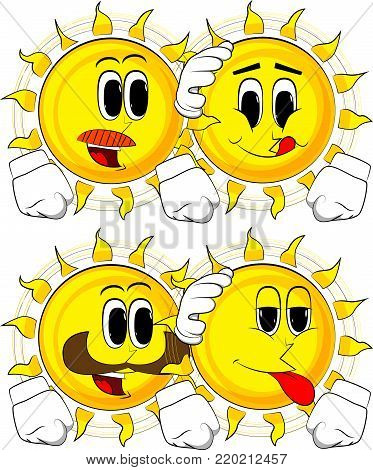 Cartoon sun comforting another sun. Collection with happy faces. Expressions vector set.