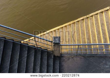 Stairways of Sadet pier to travel on Mekong river , Nong Khai , Thailand