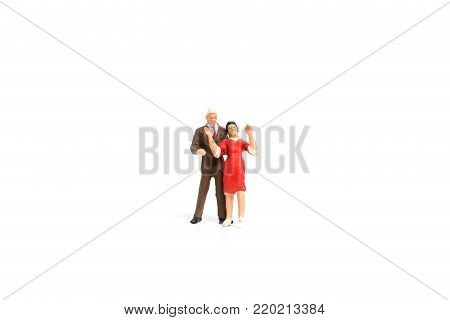 Couple Romantic Dancing On White Background