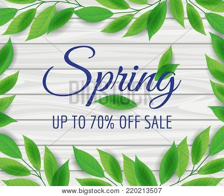 Sale poster with green leaves, and wooden background, vector illustration