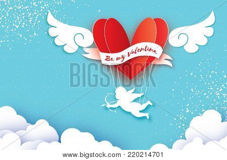 Flying Cupid - little angel. Love Pink Heart in paper cut style. Origami boy - Cherub. Red hot air balloon flying. Love, angel wings on blue sky. Happy Valentine day. Romantic Holidays. 14 February. Vector