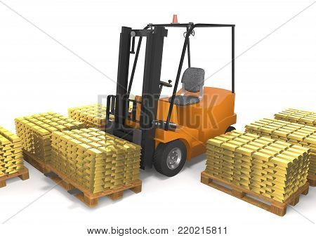 Forklift truck for industrial warehouse loads pallets with gold bars on white background (3d illustration).