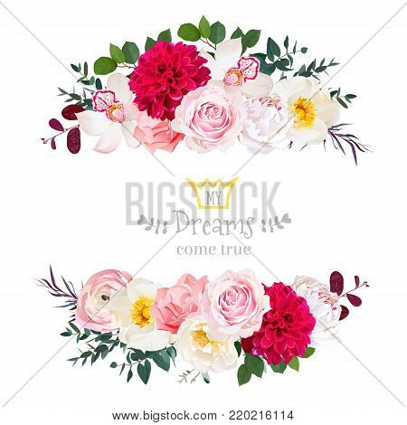 c9c7befb9ee88 White peony, pink rose, orchid, carnation flowers, orchid, burgundy red  dahlia