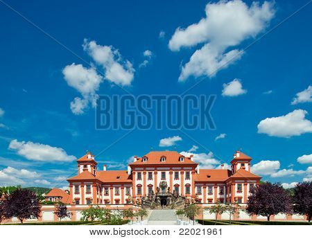 Troja Castle In Prague Against The Blue Sky