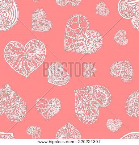 Vector seamless pattern from doodle hand drawn heart. White hearts on pink background. Background for Saint Valentines Day. Symbol of love. Heart in zentangle style.